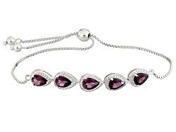 SMH394<br>3.61ctw Pear Shape Raspberry Rhodolite Sterling Silver Sliding Adjustable Bracelet