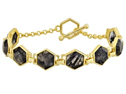 MDA438<br>Moda Di Pietra(Tm) 25.52ctw Hexagonal Rutilated Quartz 18k Yellow Gold Over Bronze Bracele