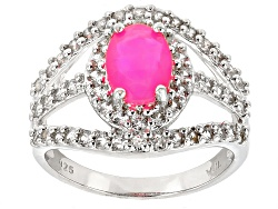 SMH400<br>.64ct Oval Pink Ethiopian Opal With .91ctw Round White Zircon Sterling Silver Ring