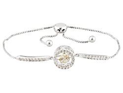 SMH414<br>2.14ctw Dancing Lab Created Strontium Titanate With White Zircon Silver Adjustable Bracele