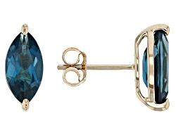 CMK004<br>2.00ctw Marquise London Blue Topaz 10k Yellow Gold Stud Earrings