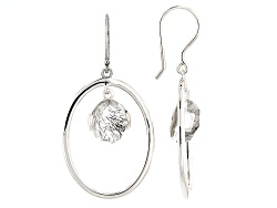 SMH544<br>7.00ctw Oval Tourmalinated Quartz Sterling Silver Dangle Earrings