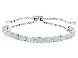 RRH043<br>7.50ctw Oval Dreamy Aquamarine Sterling Silver Sliding Adjustable Bracelet