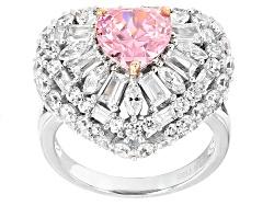 BJQ618<br>Bella Luce (R)9.36ctw Pink & White Diamond Simulants Rhodium Over Sterling Silver Ring (5.