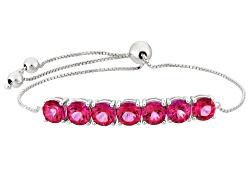 YAH015<br>4.93ctw Round Mexican Pink Danburite Sterling Silver Sliding Adjustable Bracelet