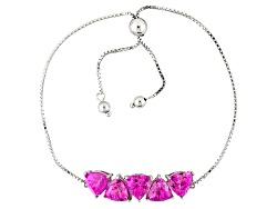 RRH277<br>9.56ctw Trillion Lab Created Pink Sapphire Sterling Silver Sliding Adjustable Bracelet