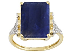 KDK012<br>7.50ct Emerald Cut India Blue Sapphire With .09ctw White Diamond Accents 10k Yellow Gold R