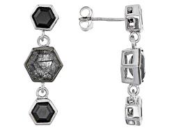 YAH150<br>2.10 Ctw Hexagon Tourmalinated Quartz And 1.65 Ctw Hexagon Black Onyx Silver Dangle Earrin