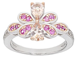 YAH273<br>.66ctw Pear Shape Morganite With .31ctw Pink Sapphire And .13ctw White Zircon Sterling Sil