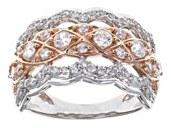 BJQ651<br>Bella Luce (R) 2.28ctw Diamond Simulant Rhodium Over Sterling And Eterno (Tm) Rose Ring (.