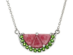 RNH083<br>3.38ctw Triangle Rhodonite And .36ctw Round Russian Chrome Diopside Silver Watermelon Half