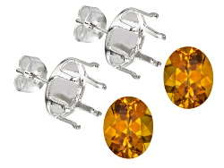 JMK030<br>Madeira Citrine Avg 4.00ctw 10x8mm Oval Set Of 2; Sterling Silver Earring Castings