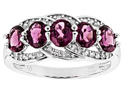 DOCX424<br>2.00ctw Oval Raspberry Rhodolite With .15ctw Round White Zircon Sterling Silver 5-stone B