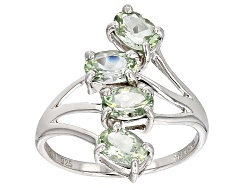 RNH367<br>1.36ctw Oval Amblygonite 4-stone Sterling Silver Ring