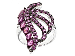 RNH439<br>3.21ctw Marquise And Round Raspberry Rhodolite Sterling Silver Leaf Design Ring