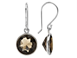 DOCX468<br>5.00ctw Round Smoky Quartz Sterling Silver Dangle Earrings