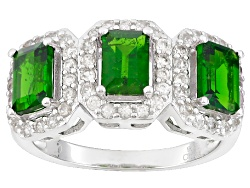 DOCX512<br>1.44ctw Emerald Cut Russian Chrome Diopside With 1.36ctw Round White Zircon Silver 3-ston