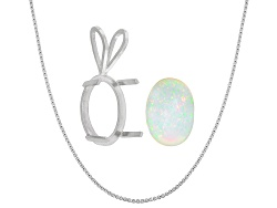 JMK043<br>Ethiopian Opal 3.0ct Minimum 14x10mm Oval; Sterling Silver Pendant Casting; 18 Chain (Fre