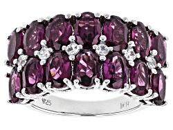 JJH403<br>7.36ctw Oval Raspberry Rhodolite With .32ctw Round White Zircon Sterling Silver Ring