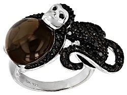 JJH435<br>12mm Round Cabochon Smoky Quartz And 1.03ctw Round Black Spinel Sterling Silver Monkey Rin