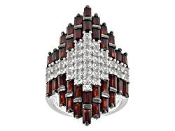JJH507<br>4.68ctw Baguette Vermelho Garnet(Tm) With 1.96ctw Round White Topaz Sterling Silver Ring