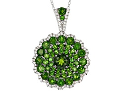Chrome diopside necklaces shop online jtv 520ctw round chrome diopside with 60ctw round white zircon sterling silver pendant with chain aloadofball Images