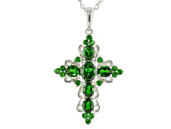 Chrome diopside necklaces shop online jtv 275ctw oval and round russian chrome diopside sterling silver cross pendant with chain aloadofball Images